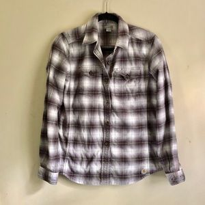 Carhartt purple and white flannel button down top